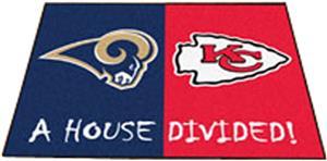 Fan Mats Rams / Chiefs House Divided Mat
