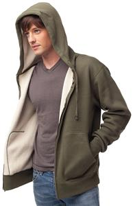 Independent Trading Mens Thermal Sherpa Zip Hoodie