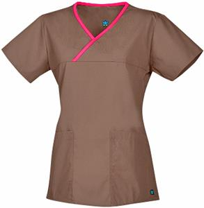 Maevn Core Women's Y-Neck Mock Wrap Scrub Tops