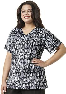 WonderWink Plus Floral Shadow V-Neck Scrub Top