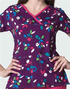 WonderWink Y-Neck Lolly Field Scrub Top