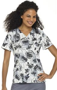 Landau Women's Smart Stretch Crossover Flowers Top
