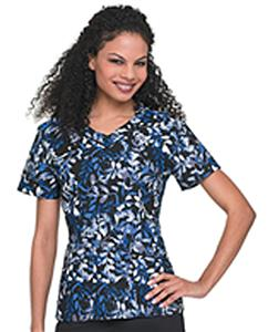 Landau Women's Rounded V-Neck Fern Scrub Tunic