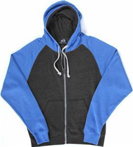 J America TriBlend Colorblock Full Zip Fleece Hood