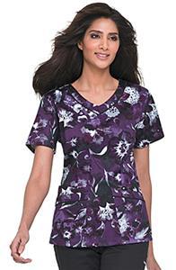 Landau Women's Rounded V-Neck Floral Scrub Tunic