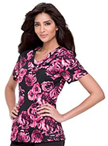 Landau Women's Rounded V-Neck Rose Scrub Tunic