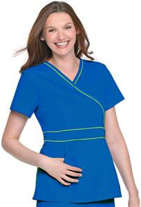 Landau Women's Banded Crossover Tunic Scrub Top