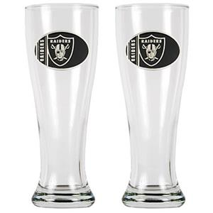 NFL Oakland Raiders 2 Pc Classic Pilsner Glass Set