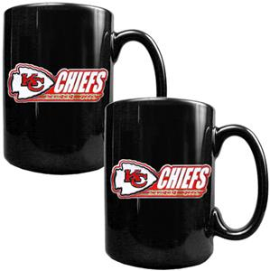 NFL Kansas City Chiefs Black Ceramic Mug-Set of 2