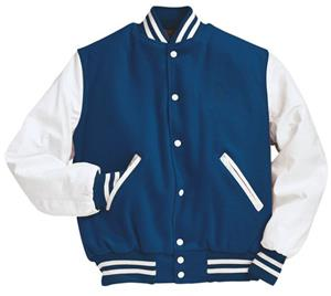 Holloway Wool Body Leather Sleeve Varsity Jacket