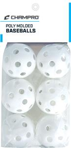 "9"" White Poly Molded Baseballs Set of 6 CBB-51C"