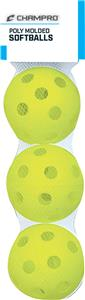 Poly Molded Yellow Baseballs Set of 3 CSB-51B
