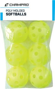 "12"" Yellow Poly Molded Softballs Set of 6 CSB-51C"