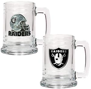 NFL Oakland Raiders 2pc Glass Tankard Set