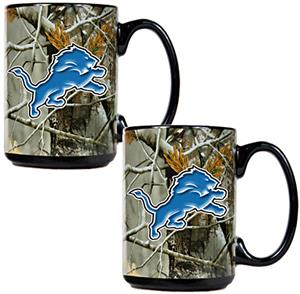 NFL Detroit Lions 2pc Open Field Coffee Mug Set