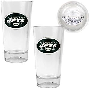 NFL New York Jets 2pc Football Base Pint Glass Set