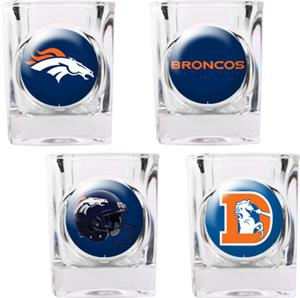 NFL Denver Broncos 4pc Collector's Shot Glass Set