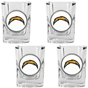 NFL San Diego Chargers 4pc Square Shot Glass Set