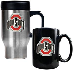 NCAA Ohio State Buckeye Travel Mug Coffee Mug Set