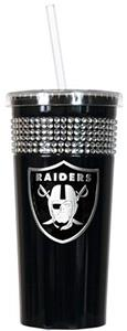 NFL Oakland Raiders 16oz Bling Tumbler w/ Straw