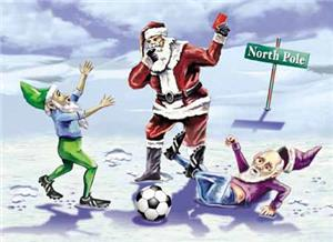 Santa / Elves Reindeer Games Soccer Greeting Cards