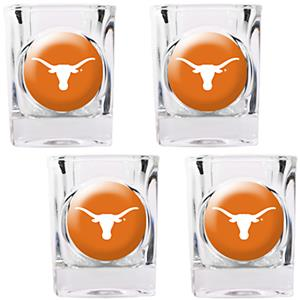 NCAA Texas Longhorns 4pc Square Shot Glass Set