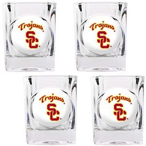 NCAA USC Trojans 4pc Square Shot Glass Set