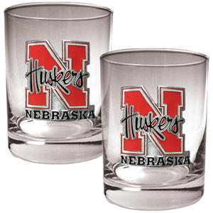 NCAA Nebraska Cornhuskers 2pc Rocks Glass Set