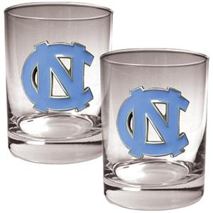 NCAA North Carolina Tar Heels 2pc Rocks Glass Set