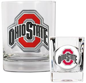 NCAA Ohio State Rocks Glass & Shot Glass Set