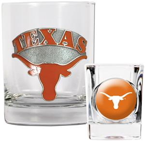 NCAA Longhorns Rocks Glass & Shot Glass Set
