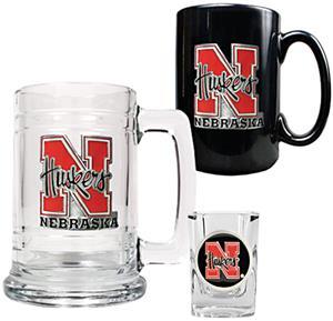 NCAA Nebraska Tankard, Coffee Mug & Shot Glass Set