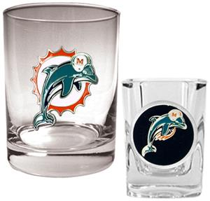 NFL Miami Dolphins Rocks Glass / Shot Glass Set