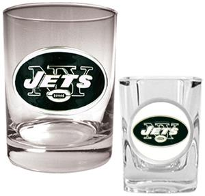 NFL New York Jets Rocks Glass / Shot Glass Set