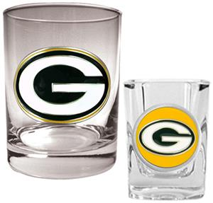 NFL Green Bay Packers Rocks Glass / Shot Glass Set
