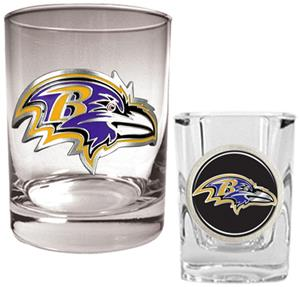 NFL Baltimore Ravens Rocks Glass / Shot Glass Set