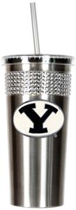 NCAA Brigham Young Stainless Bling Tumbler Straw