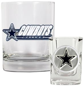 NFL Dallas Cowboys Rocks Glass / Shot Glass Set