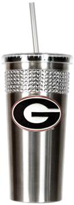 NCAA Georgia Bulldog Stainless Bling Tumbler Straw