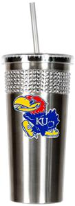 NCAA Kansas Jayhawks Stainless Bling Tumbler Straw