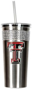 NCAA Texas Tech Stainless Bling Tumbler Straw