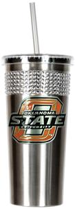 NCAA Oklahoma State Stainless Bling Tumbler Straw