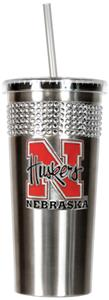 NCAA Nebraska Stainless Bling Tumbler Straw