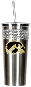 NCAA Iowa Hawkeyes Stainless Bling Tumbler Straw