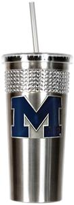 NCAA Wolverines Stainless Bling Tumbler Straw
