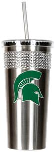 NCAA Michigan State Stainless Bling Tumbler Straw