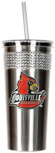 NCAA Louisville Stainless Bling Tumbler Straw