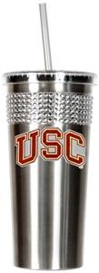 NCAA USC Trojans Stainless Bling Tumbler Straw