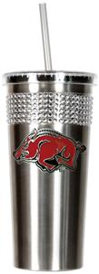 NCAA Arkansas Stainless Bling Tumbler Straw