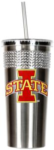 NCAA Iowa State Stainless Bling Tumbler Straw
